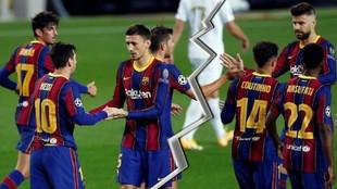 El vestuario del Barça, roto