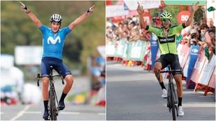 Soler e Iturria celebrando sus triunfos en LaVuelta