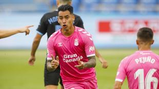Araujo celebrando un gol en el partido de LaLiga SmartBank entre la UD...