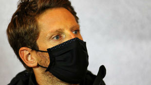 Grosjean, en la rueda de prensa del GP de Portugal en Portimao.