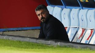 Gattuso reacciona tras la derrota del Napoli ante el AZ Alkmaar.