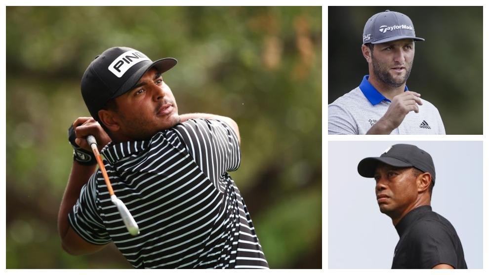 Sebastián Muñoz, Jon Rahm y Tiger Woods, en Sherwood.