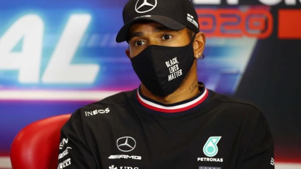 Lewis Hamilton, en la rueda de prensa previa al GP de Portugal 2020.