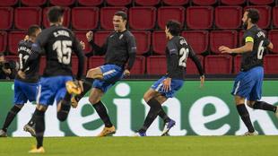 Los jugadores del Granada celebran el gol del Jorge Molina ante el...