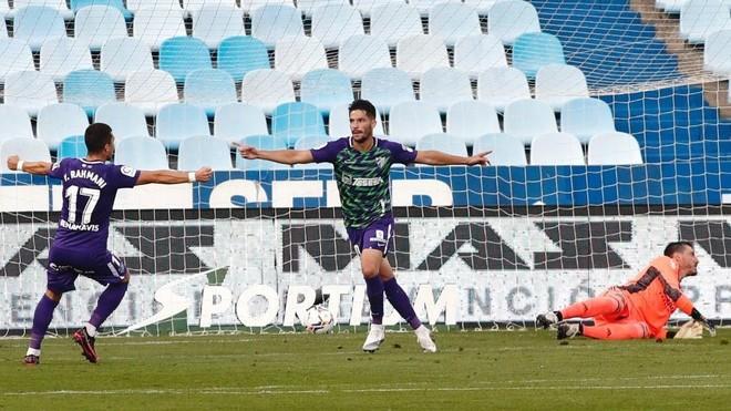 Chavarría celebra el gol que marcó ante el Zaragoza.