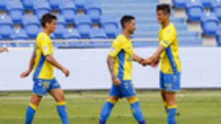 Rubén Castro tras marcar un gol con la UD Las Palmas en un partido de...