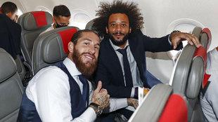 Ramos y Marcelo, en un viaje del Madrid.