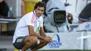 Raúl, durante un partido disputado en Nyon en la final a ocho de la...
