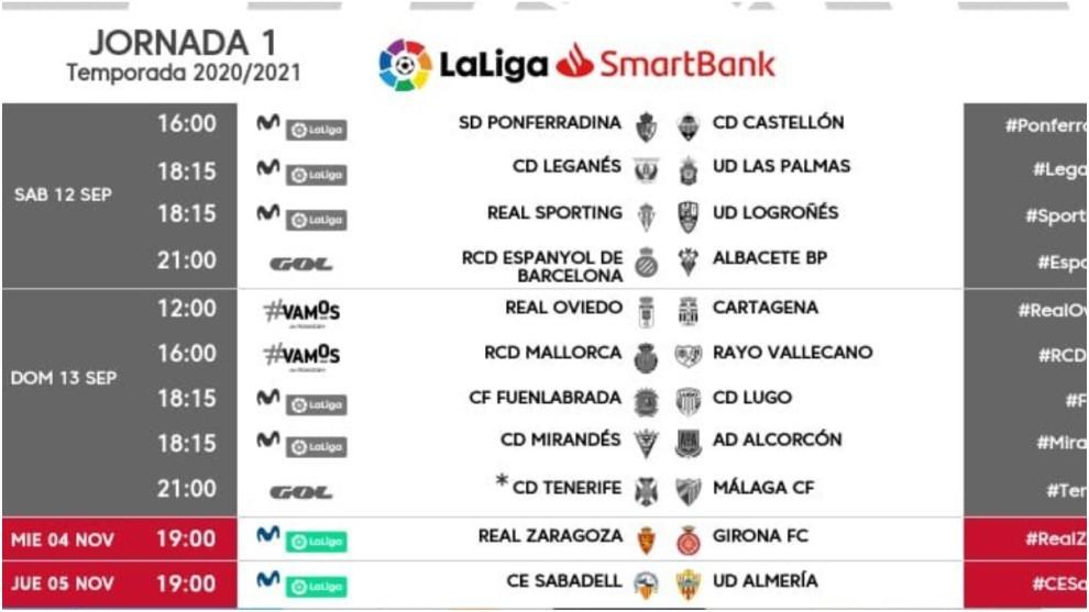 Zaragoza-Girona se juega el 4 de noviembre y el Sabadell-Almería, el día 5
