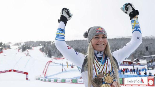 Lindsey Vonn, en una prueba del Mundial de 2019.