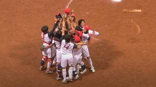 Japón celebra su victoria en la final olímpica de Pekín 2008.