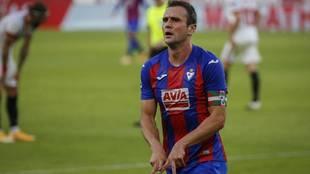 Kike García celebra su gol en el Sánchez Pizjuán.