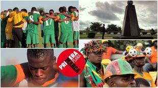 Collage con imágenes de la selección de Zambia y Kalusha