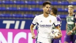 Adrián, en un partido con el Zaragoza.
