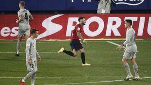 Rubén García, en plena celebración del gol entre varios jugadores...