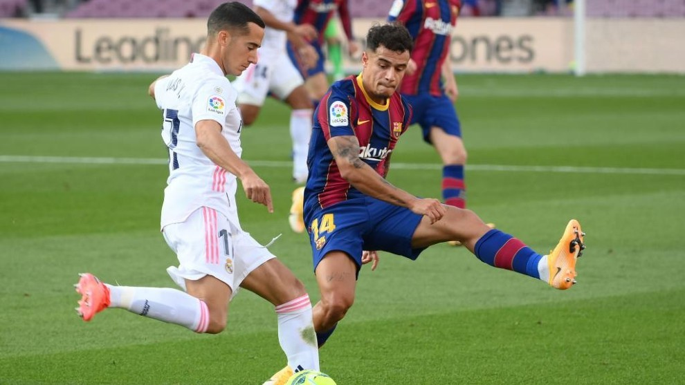 Coutinho, junto a Lucas Vázquez, en el Clásico