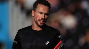 Soares, durante un partido de dobles