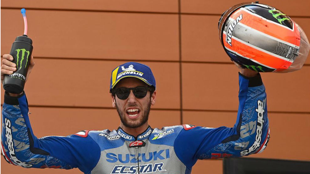 Álex Rins, tras la carrera de Teruel.