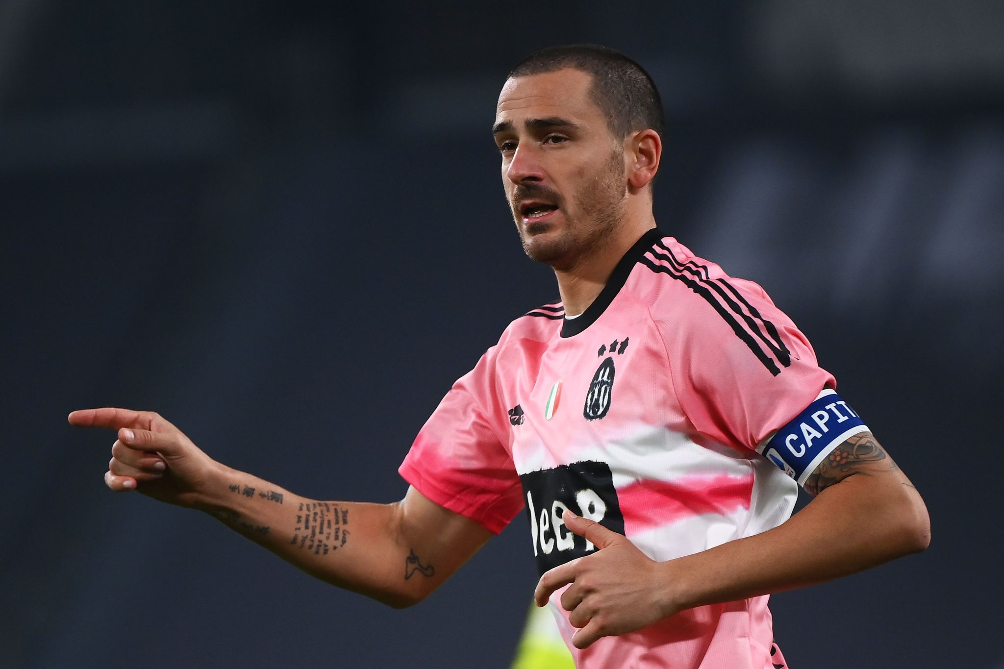 Juventus Italian defender Leonardo lt;HIT gt;Bonucci lt;/HIT gt; gestures during the Italian Serie A football match Juventus vs Verona at the Allianz Stadium in Turin, on October 25, 2020. (Photo by MARCO BERTORELLO / AFP)