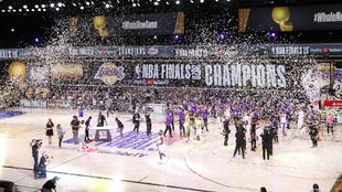 Celebración de los Lakers tras vencer en las Finales de la NBA
