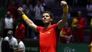 Rafa Nadal celebra una victoria en la Copa Davis 2019 disputada en la...