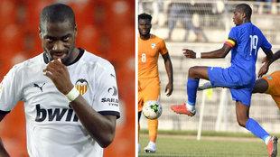 Kondogbia con el Valencia y con la selección de la República...