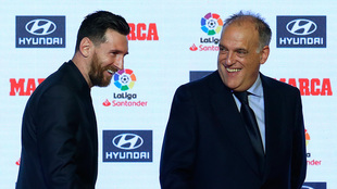 Lionel Messi and Javier Tebas.