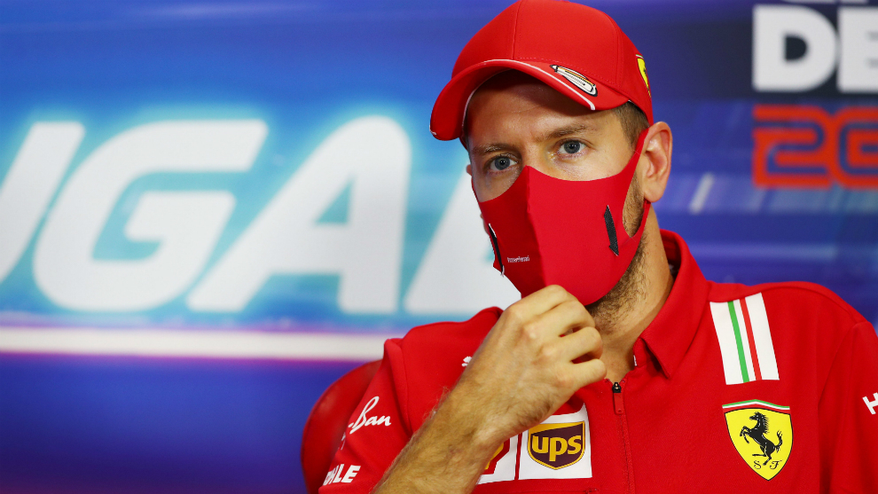 Vettel, en la rueda de prensa del GP de Portugal.