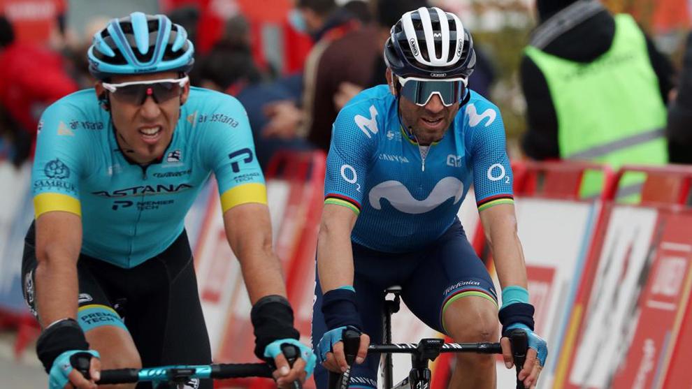 Omar Fraile y Alejandro Valverde entrando en meta