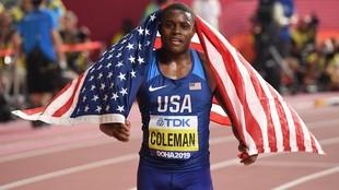 Coleman, en los Mundiales de 2019, donde ganó los 100 m lisos