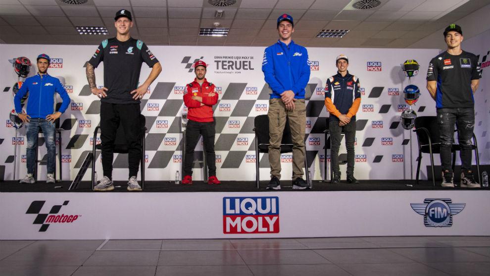Los pilotos de MotoGP, en la rueda de prensa previa a un Gran Premio.