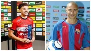 Jordan Larsson, con el Spartak, y Henrik, con el Barcelona.