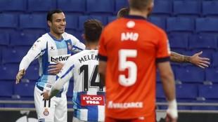 Raúl de Tomás celebra el primer gol del Espanyol a la Ponferradina.