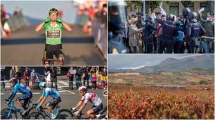 Las mejores imágenes de la 8ª etapa: viñedos con La Rioja en todo...