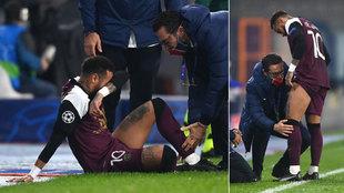 Neymar, lesionado y atendido en Estambul.