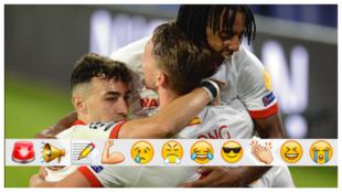 Los jugadores del Sevilla celebrando el gol ante el Rennes