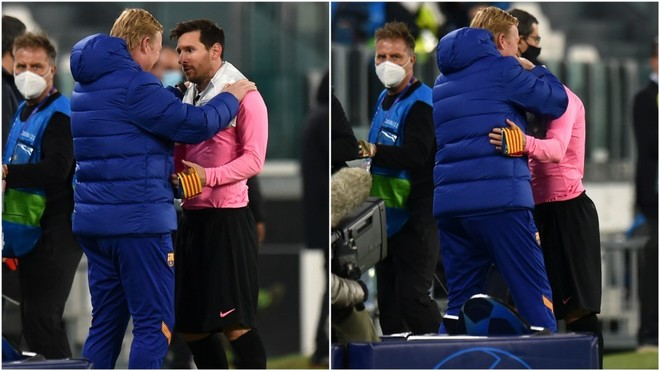 Koeman and Messi embrace after Turin win.