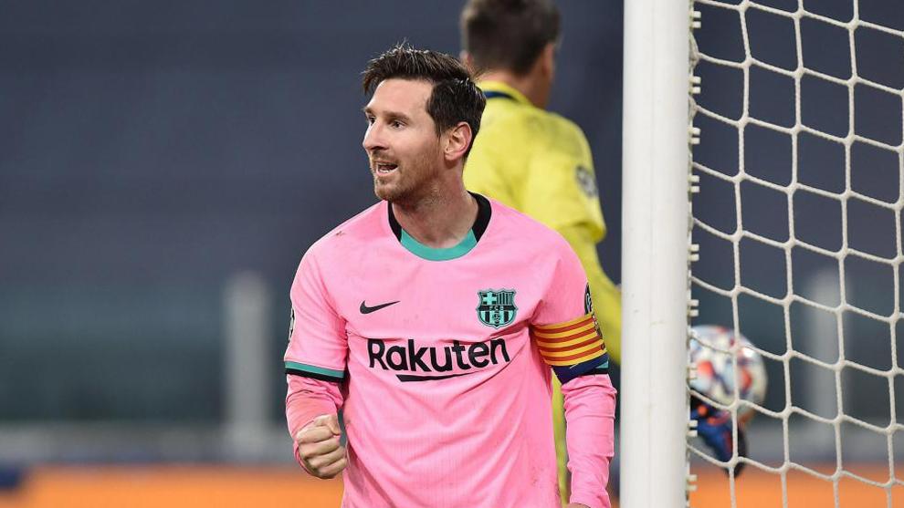 Messi celebra su gol a la Juventus
