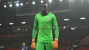 Mendy defendiendo la portería del Chelsea frente al Manchester United