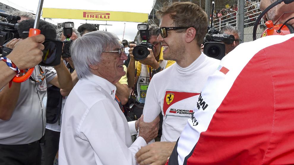 Ecclestone y Vettel.