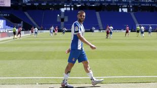 David López, tras ser cambiado en un partido en el RCDE Stadium