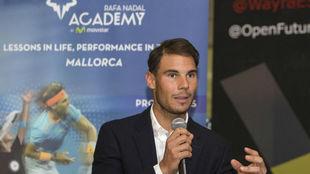 Rafa Nadal, cuando presentó el acuerdo para su Academia, con...