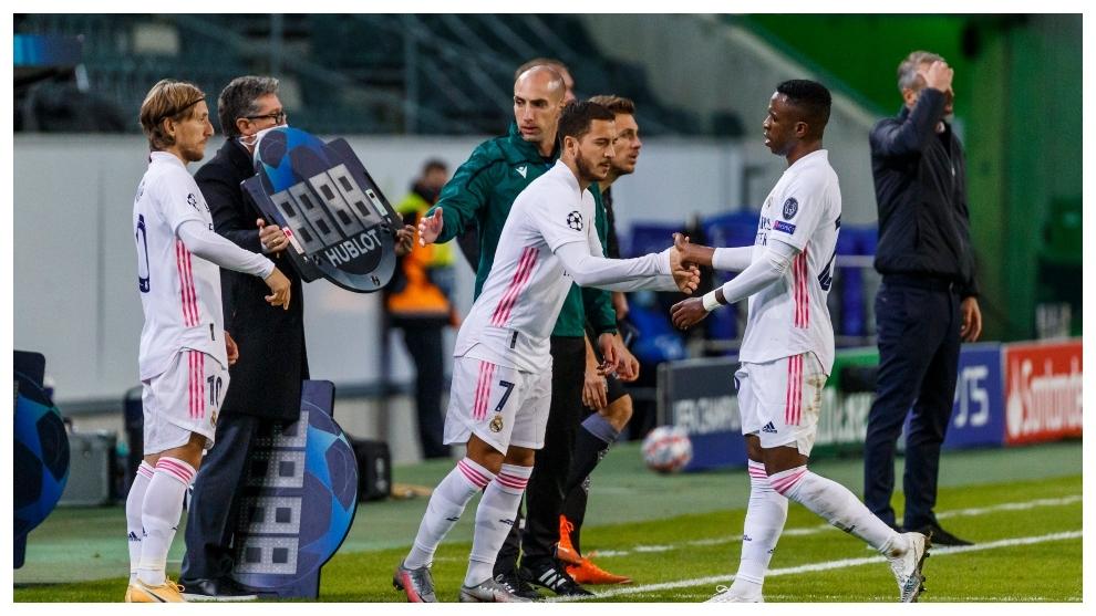 Momento del regreso de Eden Hazard en el Borussia Park.