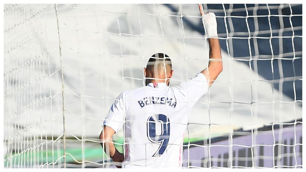 Benzema celebrates a goal