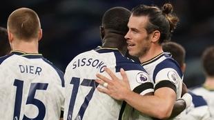 Gareth Bale después de marcar su primer tanto en el Tottenham ante el...
