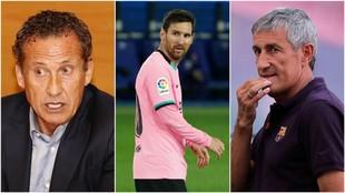 Un montaje fotográfico con Valdano, Messi y Setién, de izquierda a...