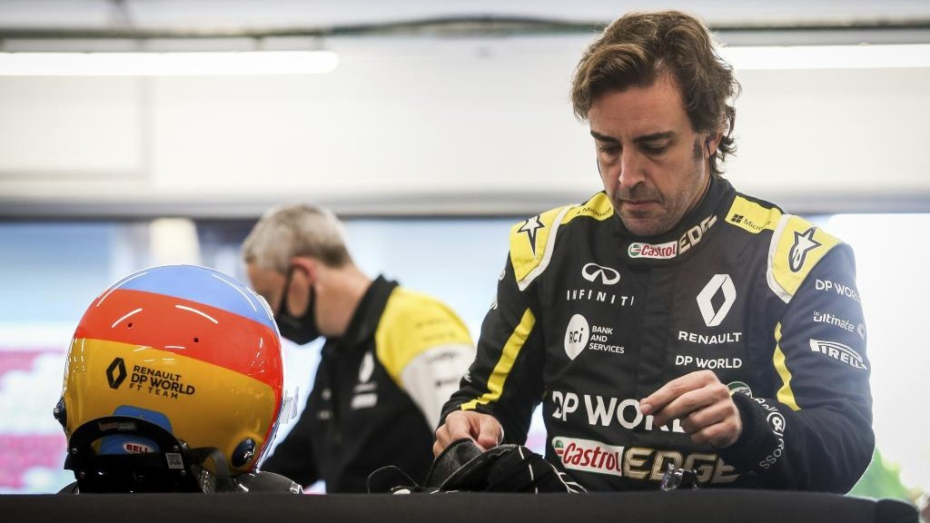 Fernando Alonso, antes de realizar una prueba con Renault.