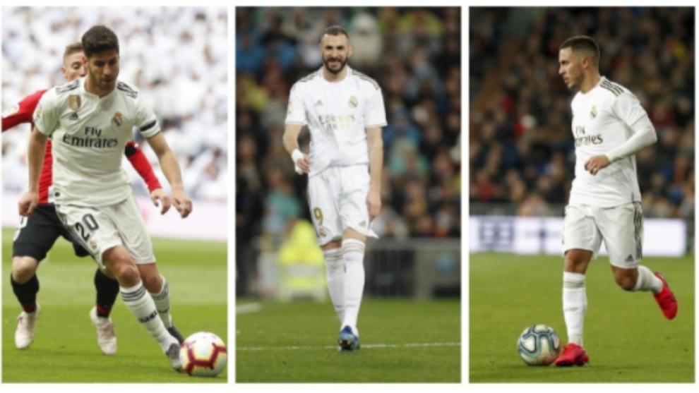 Asensio, Benzema y Hazard.
