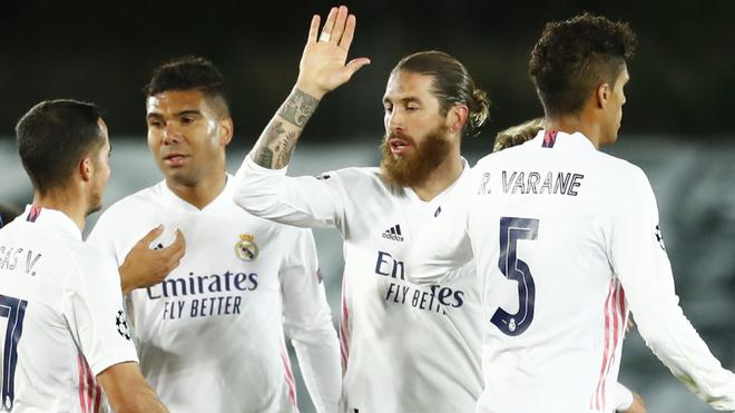 Sergio Ramos en festejo de gol con el Real Madrid ante el Inter.