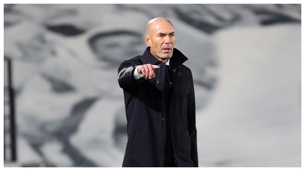 Zinedine Zidane during the match against Inter at Valdebebas.